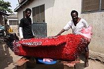Ataa Oko and Kudjo Affutu with Oko's red coq coffin 2009. Foto Regula Tschumi.JPG