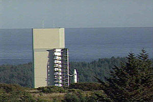 Pacific Spaceport Complex – Alaska - Athena I vehicle with Kodiak Star mission outside the Launch Service Structure in 2001.