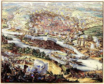 The Battle of Vienna marked the historic end of the expansion of the Ottoman Empire into Europe. Atlas Van der Hagen-KW1049B10 050-De belegering van Wenen door de Turken in 1683.jpeg