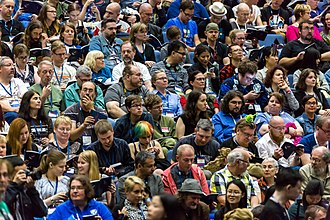 Science fiction fandom - Audience waiting for the Hugo Award ceremony at the 75th World Science Fiction Convention in Helsinki, Finland in 2017