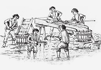 Slavery in Romania - Roma gold miners (Boyash, Aurari or Rudari) at work, gold panning
