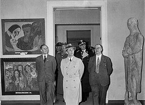 Degenerate Art Exhibition - Goebbels views the Degenerate Art exhibition