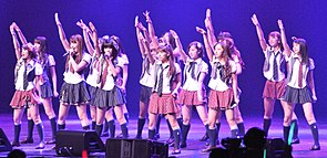 AKB48 performing at the Nokia Theatre in Los Angeles, California, July 2010