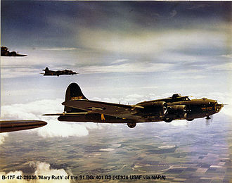 RAF Bassingbourn - B-17F-60-BO Flying Fortress AAF Ser. No. 42-29536 Mary Ruth, Memories of Mobile, 401st Bomb Squadron, shot down by fighters over Hüls, Germany, 22 June 1943, with two killed and eight captured