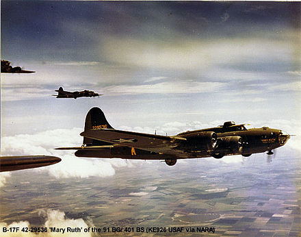 B-17F-60-BO Flying Fortress AAF Ser. No. 42-29536 Mary Ruth, Memories of Mobile, 401st Bomb Squadron, shot down by fighters over Hüls, Germany, 22 June 1943, with two killed and eight captured - Bassingbourn Barracks