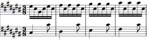 Prelude and Fugue in C-sharp major, BWV 848 - The first four bars of Bach's Prelude in C-sharp Major, BWV 848.