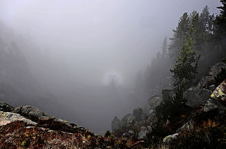 Backscatter - Backscatter in photography, showing a Brocken spectre within the rings of a glory