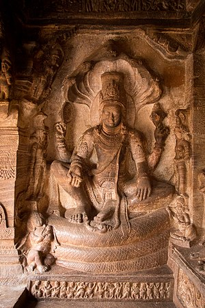 Narayana - A depiction of Lord Narayana at Badami cave temples