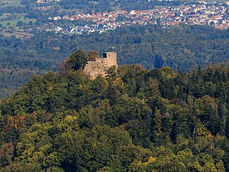 Alt Eberstein - Aerial view of the ruins with Ebersteinburg in background