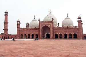 The Badshahi Mosque (King's mosque) was built by the Mughal emperor Aurangzeb in Lahore, Pakistan