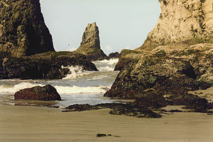 Bandon, Oregon - Rock formations along the coast in Bandon (1994)