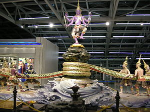 Kurma - Kurma (tortoise), snake rope, mountain with dancing Vishnu artwork at the Bangkok Airport, Thailand.