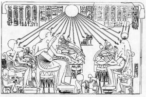Banquet scene, Huya's tomb, El-Amarna. Akhenat...