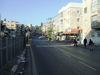 Route 417 (Israel) - Early morning traffic-free view of Bar-Ilan Street