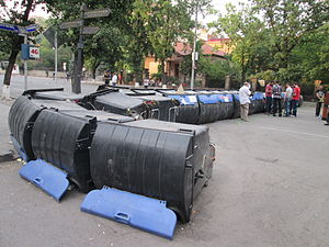 Barricade from trash cans in Yerevan 02.JPG