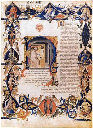 Bartolomeo di Fruosino - a page from Inferno, from the Divine Comedy by Dante Alighieri (Folio 3v), illuminated by Bartolomeo di Fruosino, Bibliothèque nationale de France, between 1430 and 1435