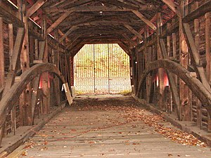 Bartram's Covered Bridge - Interior, looking west, showing the Burr truss design