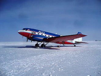 Tourism in Antarctica - A Basler BT-67 owned by Antarctic Logistics Centre International and used for tourist flights in Antarctica, at the South Pole in December 2009