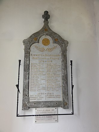 Bassussarry - The War Memorial plaque in the church