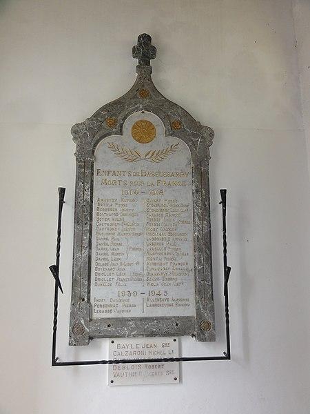 Bassussarry war memorial in the church