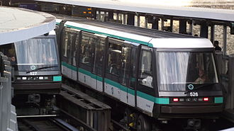 RATP Group - Two MP 05 train sets of Paris Métro Line 1 at Bastille station.