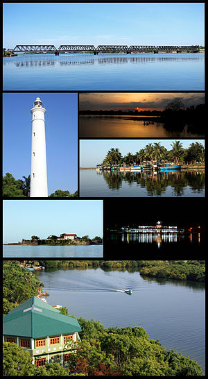 Batticaloa - Clockwise from top: Kallady Bridge, Unnichchai Tank, Fishing boats, Batticaloa Bus stand, Batticaloa Lagoon, Batticaloa Fort, Batticaloa Lighthouse