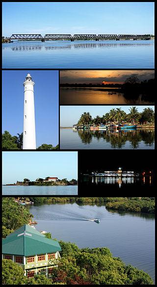 Clockwise from top: Kallady Bridge, Unnichchai Tank, Fishing boats, Batticaloa Bus stand, Batticaloa Lagoon, Batticaloa Fort, Batticaloa Lighthouse
