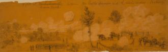 Battle of Beaver Dam Creek - Fight at Beaver Creek Alfred R. Waud, artist, June 26, 1862