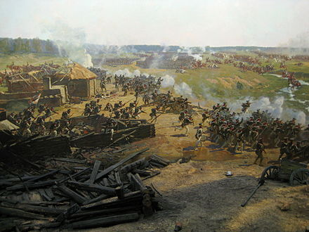 Nansouty's heavy cavalry attacks squares of Russian guardsmen to the left of Semyanovskaya (background) to support Ney's attack. Detail from the Borodino Panorama by Franz Roubaud, 1912. Battle of Borodino panorama - detail 05.jpg
