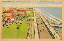 Seawall Boulevard and the Hotel Galvez in the 1940s