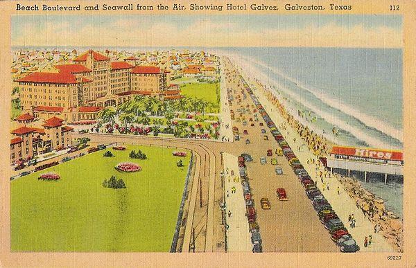 Postcard view of Beach Boulevard and the Hotel Galvez, early 1940s - Free State of Galveston