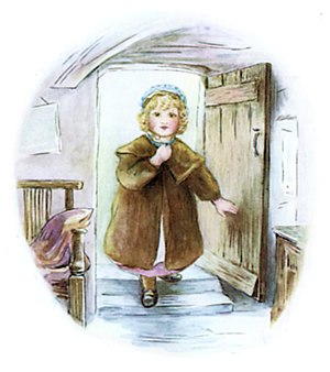 The Tale of Mrs. Tiggy-Winkle - Lucie enters Mrs Tiggy-winkle's cottage; Potter had trouble depicting humans