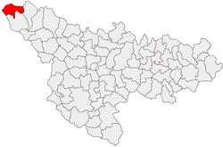 Location of Beba Veche in Timiș County