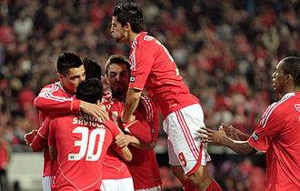 Óscar Cardozo - Cardozo (left) celebrating a Benfica goal in 2011