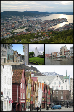 From top to bottom: city centre, old town, Gamlehaugen, city square and Bryggen