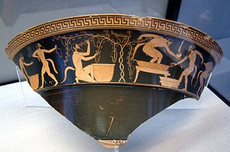 Vineyard - Satyrs in vineyard. Attic red-figure volute-krater, ca. 490 BC, State Collections of Antiques in Munich.