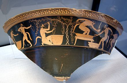 Satyrs in vineyard. Attic red-figure volute-krater, ca. 490 BC, State Collections of Antiques in Munich. Berlin Painter fragment volute-krater satyroi.jpg