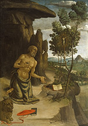Galero - Saint Jerome in the Wilderness by the 15th century artist Pinturicchio shows the galero, as do many portraits of Jerome