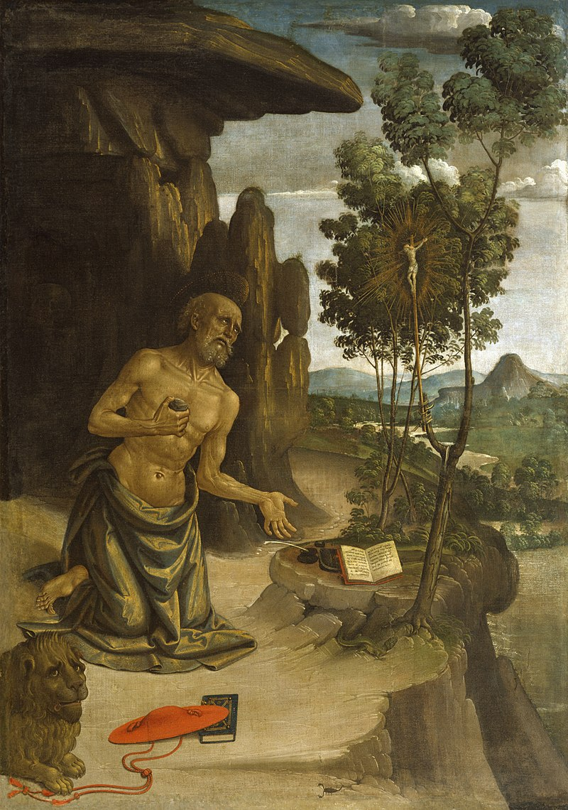 Saint Jerome in the Wilderness by Bernardino Pinturicchio dans immagini sacre 800px-Bernardino_Pinturicchio_-_Saint_Jerome_in_the_Wilderness_-_Walters_371089
