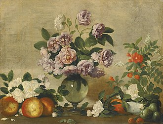Bernardo Strozzi - Still life with flowers in a glass vase and fruits on a ledge