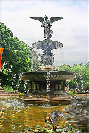 "History of New York City (1855–97) - ""Angel of the Waters"", in Bethesda Fountain (sculpted 1873)"