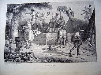 Bhishti - Bhesties, an 1838 illustration showing Bhishtis