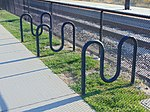 Bicycle racks at Murray North station, Murray, Utah, Aug 16.jpg