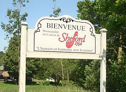 The welcome sign of Shefford's township