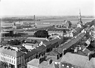 Lurgan - Birds-eye view of Lurgan in the early 20th century