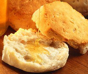Biscuit (bread) - Image: Biscuit which has been broken open