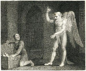 "Miser - A print of John Gay's ""The Miser and Plutus"" by William Blake, 1793"