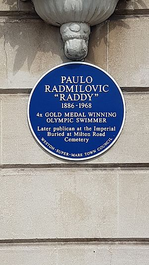 Paul Radmilovic - The blue plaque unveiled by his grandson, Simon Siddall on the wall of The Imperial, South Parade, Weston-super-Mare