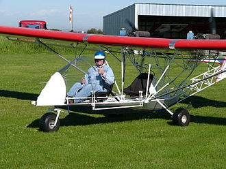 Pilot licensing in Canada - The holder of a Canadian ultra-light pilot permit prepares to fly a Blue Yonder Twin Engine EZ Flyer.