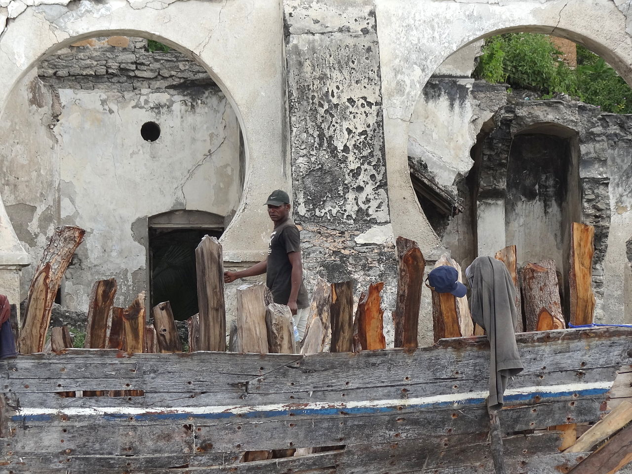 Bagamoyo Tanzania  city pictures gallery : ... under Repair with Passing Man Fishing Port Bagamoyo Tanzania
